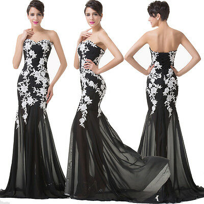 Applique Lace Mermaid Formal Prom Gown Bridesmaid Ball Gown Evening Party Dress