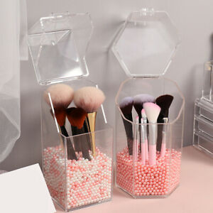 clear acrylic makeup brush holder with lid dustproof