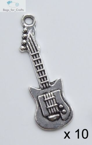10 Tibetan Silver Electric Guitar Music Instrument Charms Pendants 33mm TC10