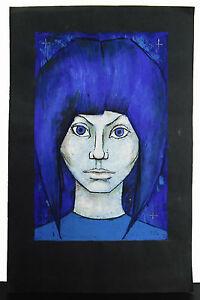 Dorada-Cruz-retrato-jovenes-mujer-Moderno-abstracto-estilo-c1980-young-mujer