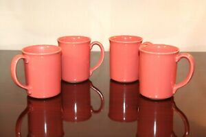 Set-of-4-Corning-Corelle-USA-Pink-Coral-Salmon-Coffee-Mugs-Tea-Cups