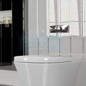 15 Sparkle White Chrome Panels Kitchen Shower Plastic Bathroom Cladding