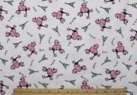 Snuggle Flannel Pink Poodles In Paris On White 100% Cotton Fabric Bty