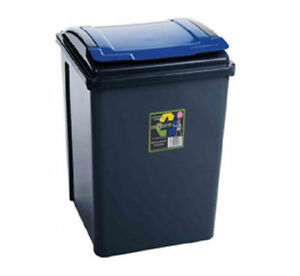 Recycling-50L-Slim-Bin-amp-Lid-Graphite-Kitchen-Rubbish-Dustbin-Garden-Waste-Home