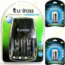 UNIROSS Mains Battery Charger 2 x 9V DIGIMAX 280mAh PP3 280 mAh Batteries Ni-Mh