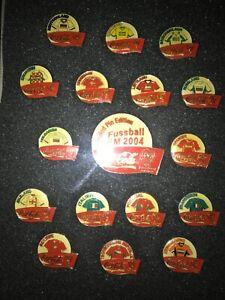 EM UEFA FIFA EURO 2004 Portugal pin pins set17pcs fussball football framed