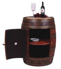 New Authentic Full Oak Wine Barrel Bar Pub Liquor Cabinet On Casters Solid Wood