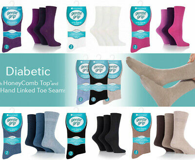 Men/'s Gentle Grip Socks Genuine Non Elastic Diabetic Soft Top White Black 6-11