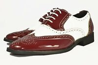 New mens shoes casual formal party wedding fashion patent red& white brogue