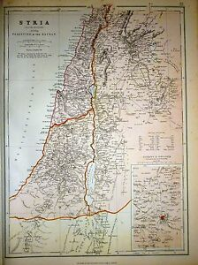 1882 LARGE VICTORIAN MAP SYRIA SOUTH PALESTINE THE HAURAN