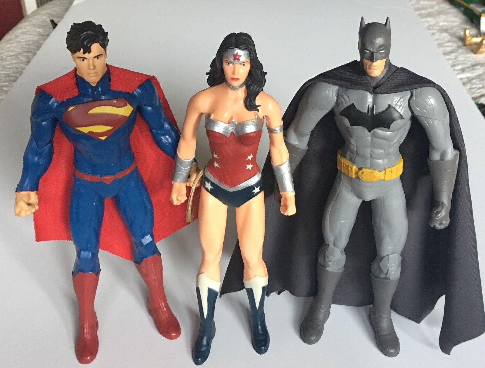 Lot Of 3  DC Justice League Bendable Action Figures Superman Batman Wonder Woman