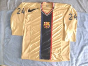 factory price eda69 d8a2d Details about Nike Authentic FC Barcelona Hockey Jersey Game Worn Used  Gamer RARE sz 50 Gold