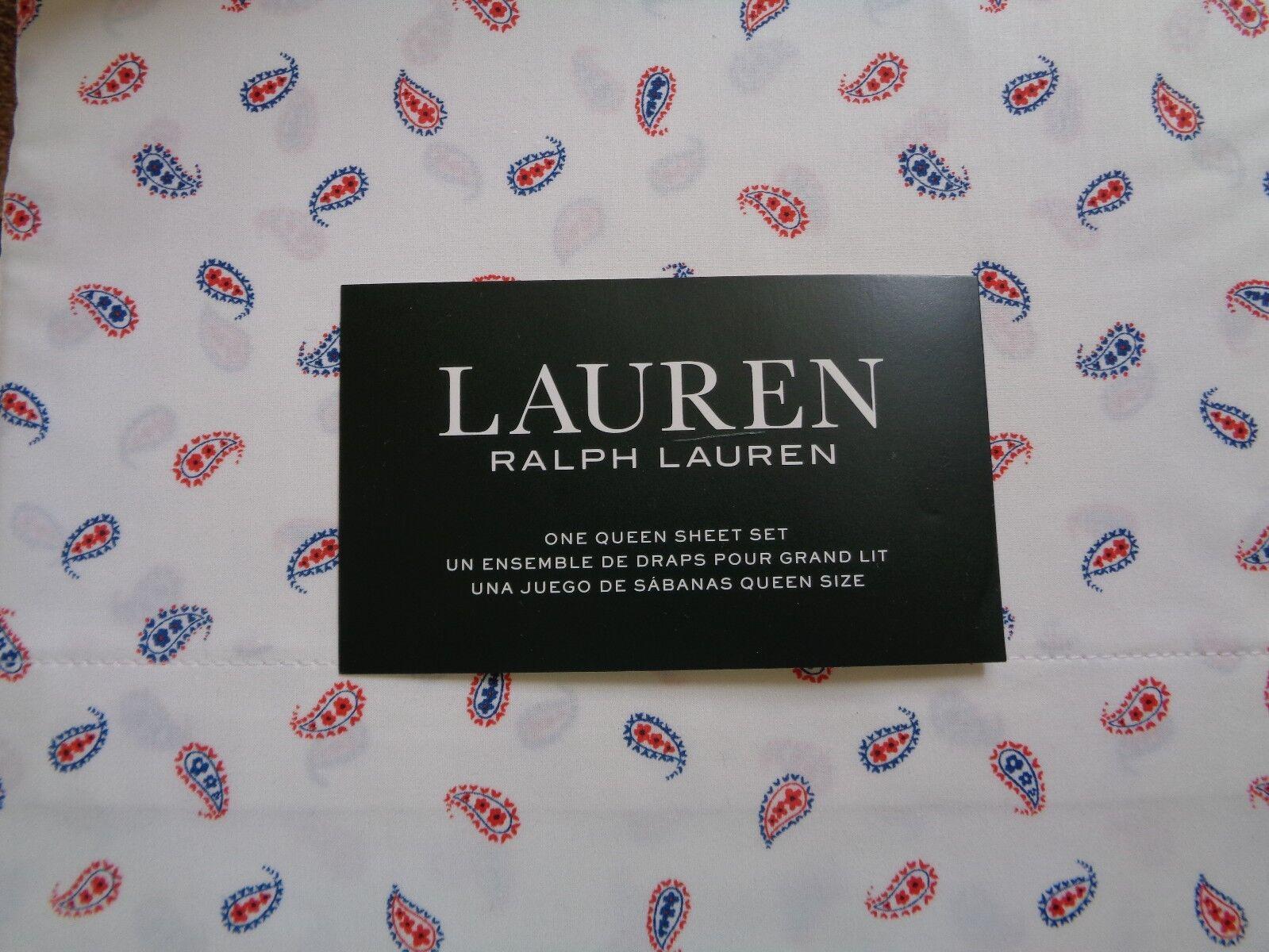 NEW RALPH LAUREN RED WHITE blueE PAISLEY 4 PIECE QUEEN SHEET SET