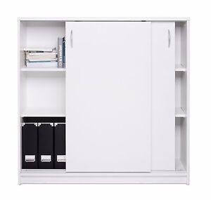 Büroschrank weiß Schiebetürenschrank Kiel 17 Kommode Aktenschrank Büroschrank Weiß ...