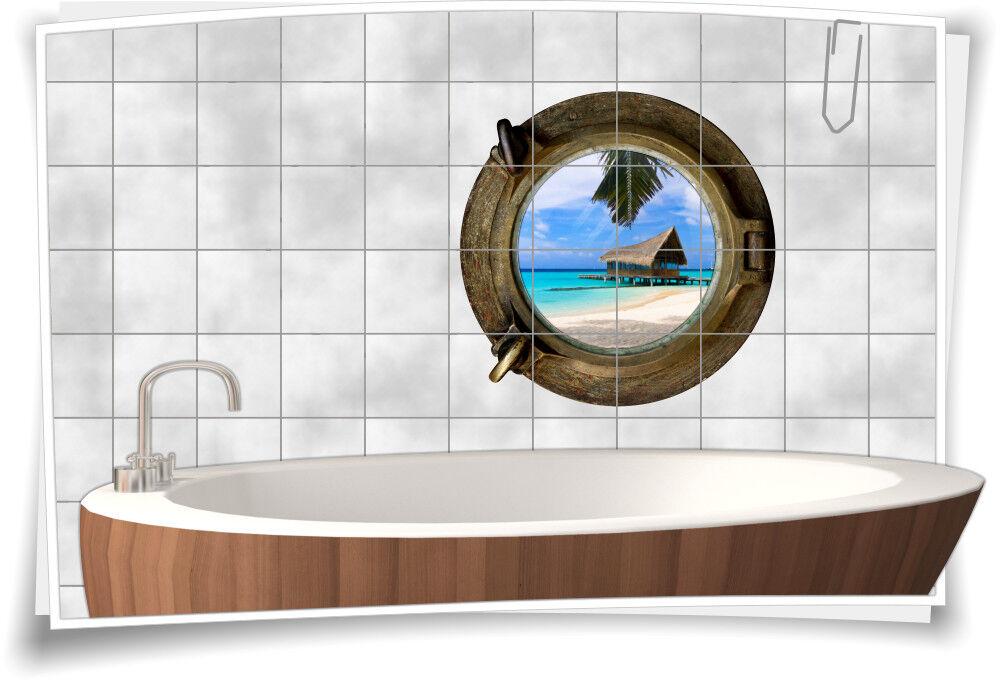 Fliesenaufkleber Fliesenbild Fliesen Bullauge Wasser Strand Aufkleber Badezimmer