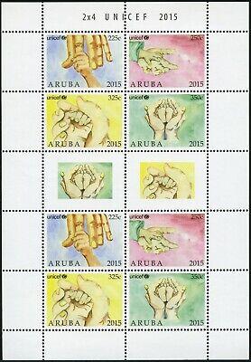 Aruba 2015 Unicef Hände Kinderhilfe 864-867 Kleinbogen Postfrisch Mnh 100% Original Briefmarken