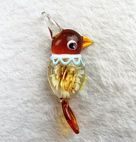 68x20x12mm Coffee Cute bird Glass Pendant Necklace Vk6499