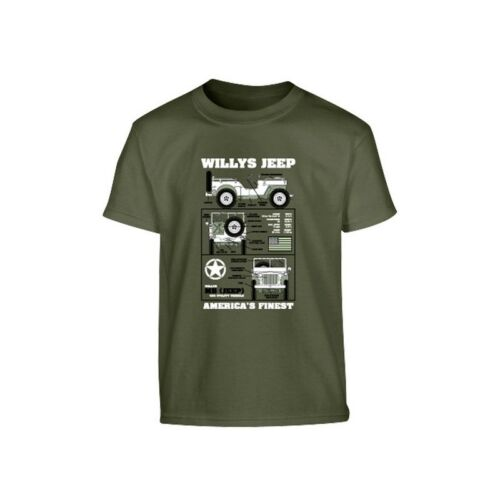 Kids Willie/'s Jeep Military T-shirt Black /& Green 100/% Cotton