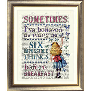 ART-PRINT-DICTIONARY-BOOK-PAGE-Alice-IN-Wonderland-VINTAGE-TEA-PARTY-Quote-Old