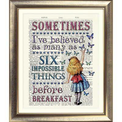 ART PRINT DICTIONARY BOOK PAGE Alice IN Wonderland VINTAGE TEA PARTY Quote Old