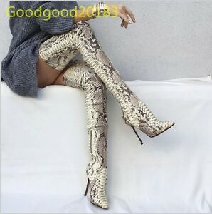 Hot-Sexy-Snake-Figure-Super-Long-Slim-Over-Knee-Boots-Stilettos-High-Heels-Shoes