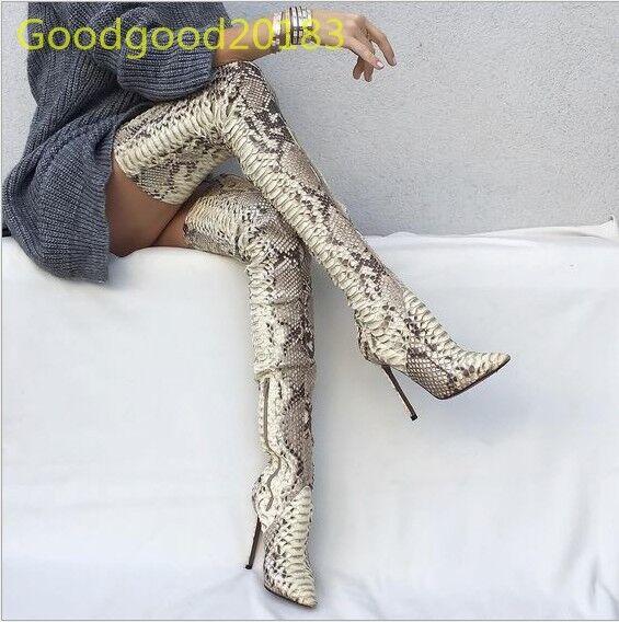 Hot Sexy Snake Figure Super Long Slim Over Knee Boots Stilettos High Heels Shoes