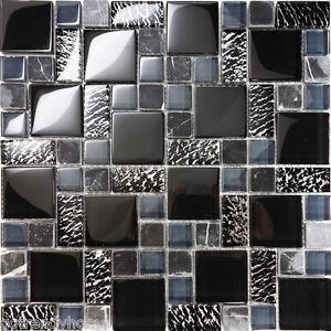 Details About 10sf Black Pattern Metallic Gl Marble Stone Mosaic Tile Kitchen Backsplash