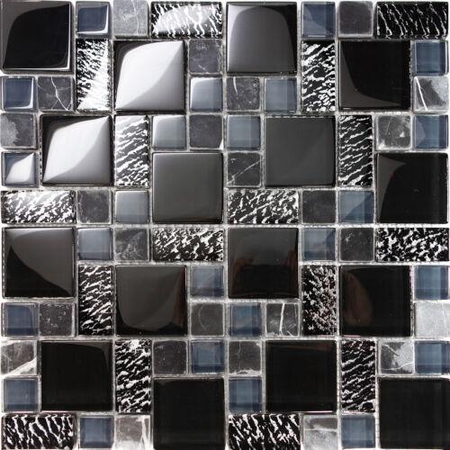 10SF Black Pattern Metallic Glass Marble Stone Mosaic Tile Kitchen Backsplash