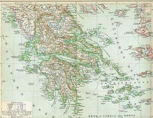 Karte Griechenland.Details Zu Karte Von Griechenland 1894 Original Graphik