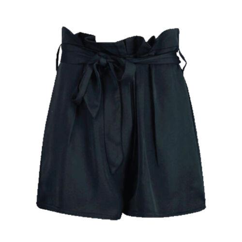 Da Donna in Raso Cravatta in tessuto PAPERBAG in vita con cintura a vita alta Pantaloncini