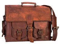 Mens Leather Messenger Bag Vintage Brown Shoulder Laptop Bag Briefcase Genuine