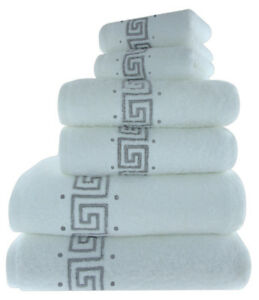 Luxury 100 Cotton Greek Key Embroidered Bath Towel 3 Piece Gift Bale Set