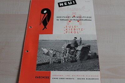 Rabewerk Pirol Eule Prospekt 05/1956 Enthusiastic 144243 Wechselpflug Kibitz