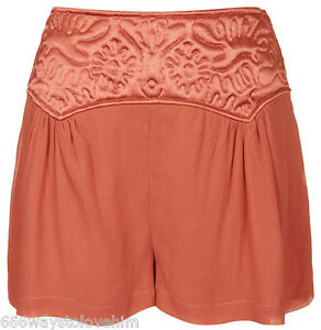 Topshop-Pretty-Embosssed-Panel-Chiffon-Shorts-Culottes-14-42-Blush-Coral-Red-New