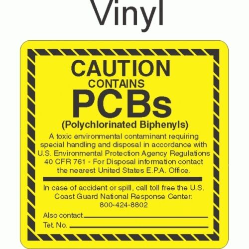 roll of 100 Contains PCB/'s Vinyl PCB0166 Caution GC LABELS