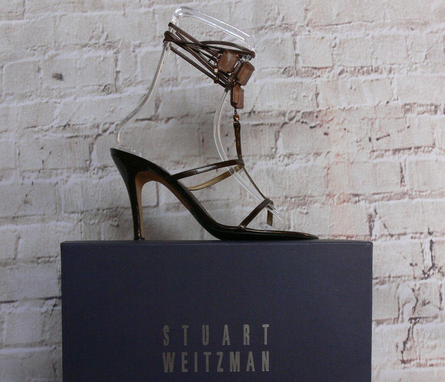 GORGEO  STUART WEITZMAN Bronze Pelle amber Jeweled Wrap Sandals Shoes   9.5