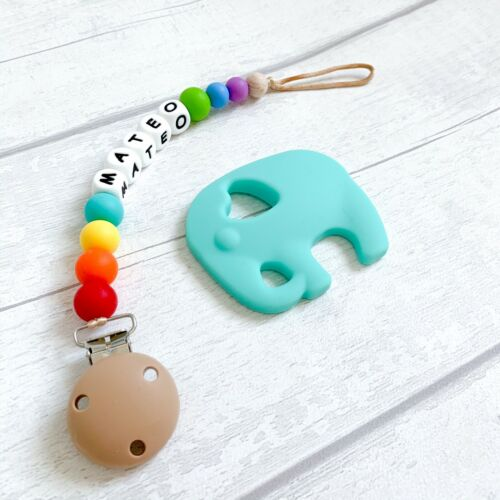 Christening Silicone Baby Gift Set Baby Shower Gift Personalised Teething Toy