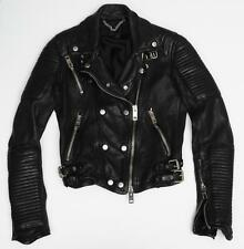 BURBERRY PRORSUM Womens Black Leather Quilted Moto Motorcycle Biker Jacket 36/0