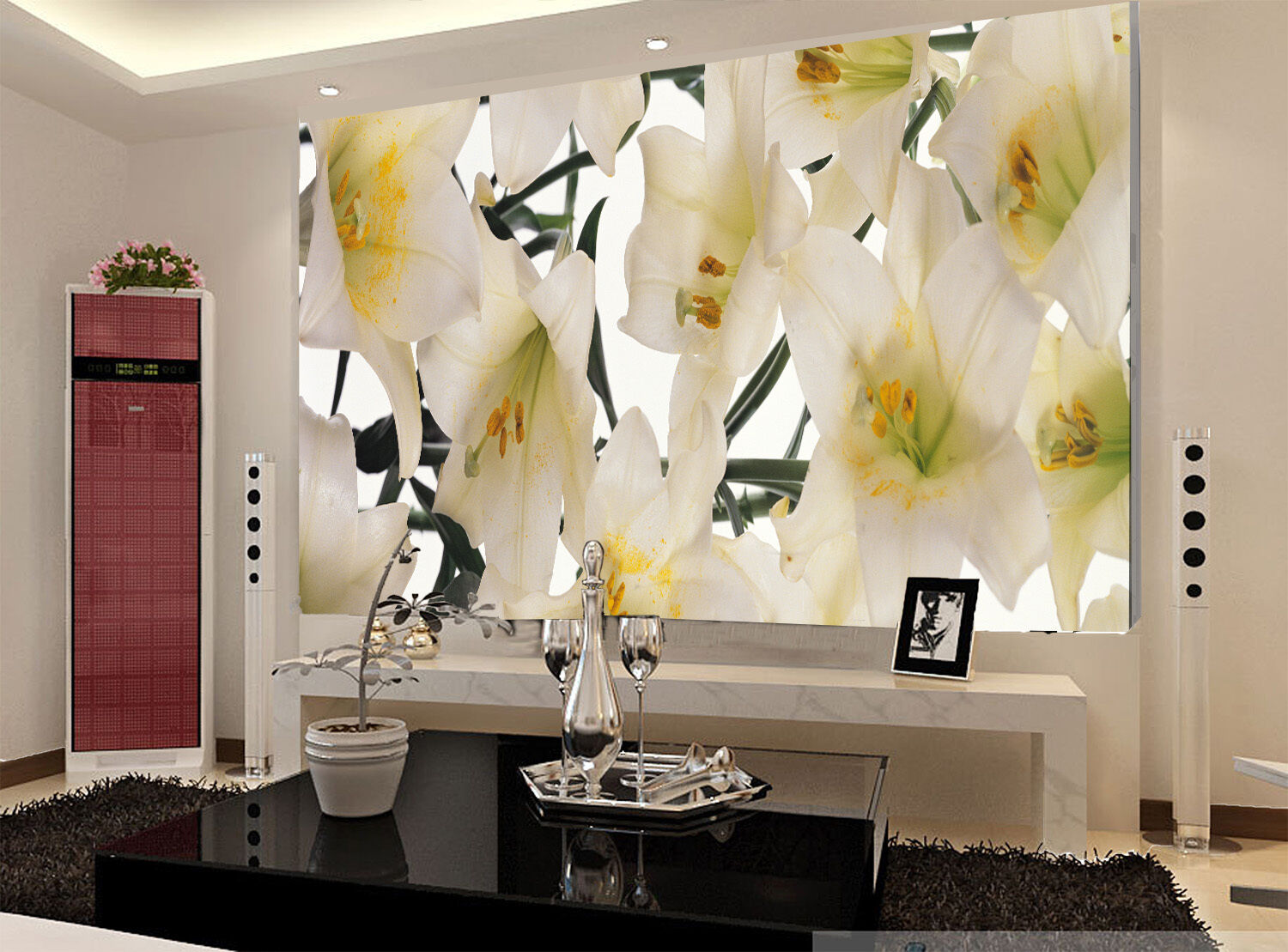 3D Weiß Lily Paper Wall Print Wall Decal Wall Deco Indoor Murals