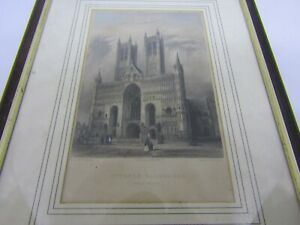 Antique-engraving-of-Lincoln-Cathedral-Lincolnshire-coloured-framed-art