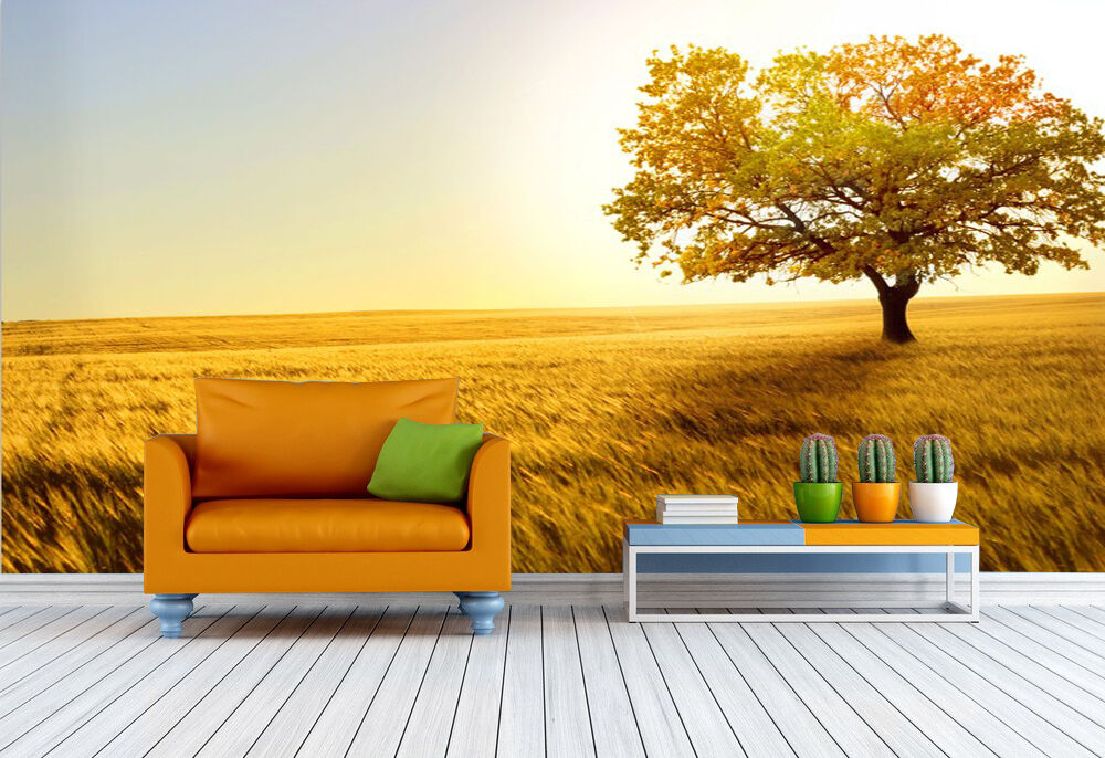 3D golden Wheat Field Trees Paper Wall Print Decal Wall Deco Indoor wall Murals