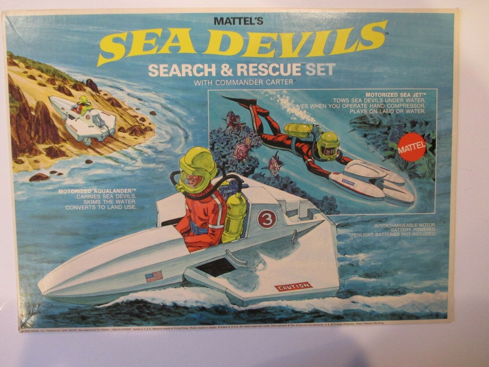 1969 MATTEL SEA DEVILS SEARCH AND RESCUE PLAYSET ORIGINAL BOX ART SUPER RARE
