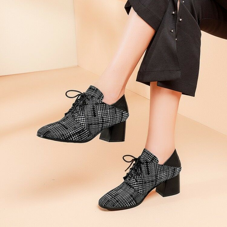 Womens Plaid Block Chunky Heels Lace Up Up Up Elegant Fashion shoes Loafers Party Size 1cd217