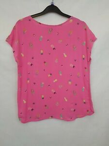 LAURA-ASHLEY-Ladies-top-short-sleeves-pink-pineapple-viscose-cotton-size-8-02