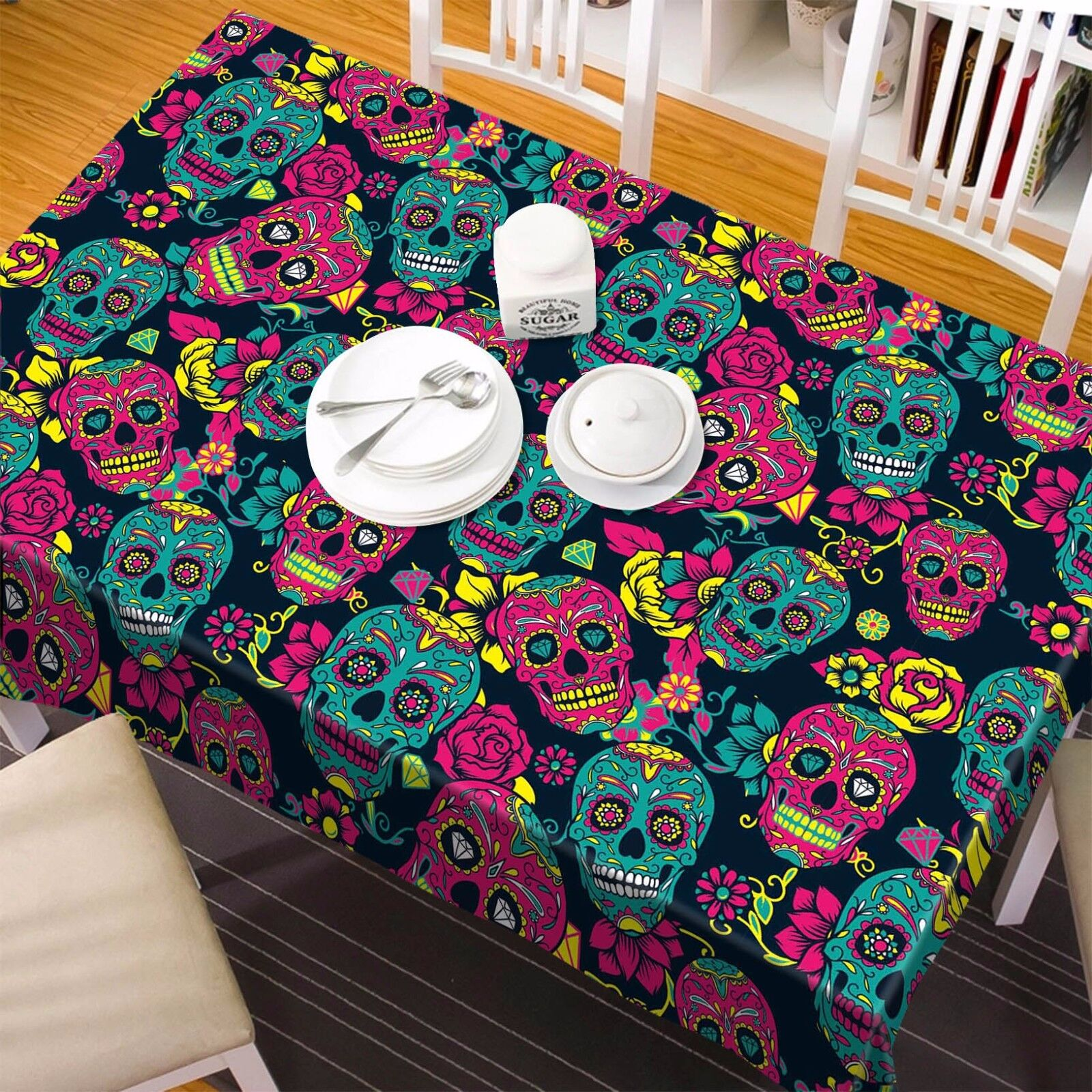 3D Skeleton 5 Tablecloth Table Cover Cloth Birthday Party AJ WALLPAPER UK Lemon