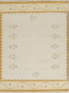 NEW-Hand-Woven-Contemporary-Flat-Weave-Ivory-Kilim-Dhurrie-Oriental-Area-Rug-5x7