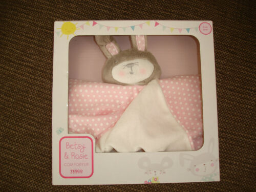TESCO BETSY /& ROSIE PINK BUNNY RABBIT BABY COMFORTER BLANKIE NEW IN BOX 2013