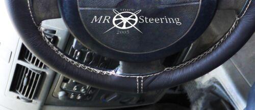 Pour ford focus 98-11 noir véritable volant en cuir couverture double blanche stitch