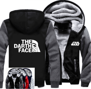 Warm Thicken STAR WARS The Darth Face Hoodie Jacket Cosplay Sweater fleece coat