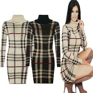 Women-Tartan-Polo-Neck-Check-Knitted-Midi-Long-Sleeve-Bodycon-Jumper-Dress-Top